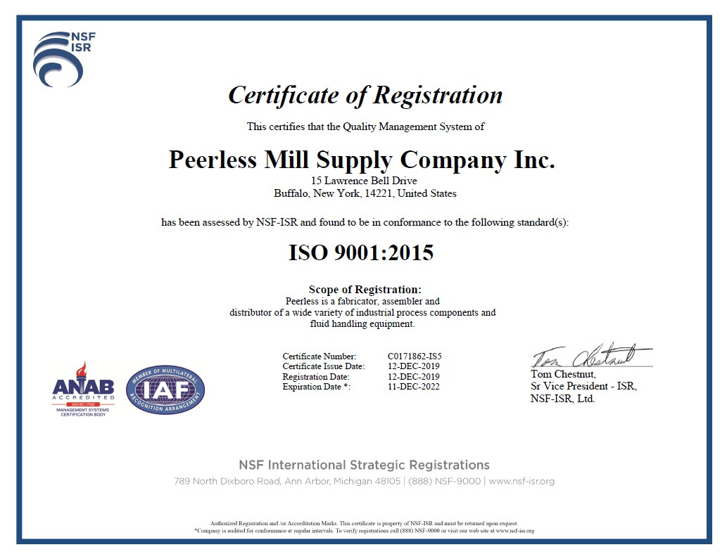 Peerless ISO Certification